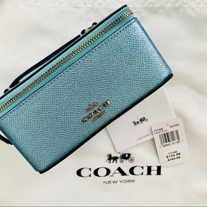 Coach Bags - Coach Metallic Blue Vanity Cosmetic or Travel Case
